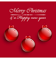 Christmas balls hanging on red background vector image vector image
