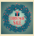 christmas sale poster with wreath vector image