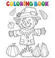 coloring book scarecrow topic 1 vector image vector image