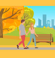 couple walking holding hands man and woman park vector image vector image