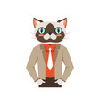cute fashion cat guy character hipster animal vector image vector image