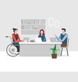 disabled people in office vector image