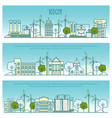 Ecology city banners template with thin vector image