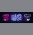 escape room neon signs escape room design vector image vector image