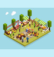 farmer market isometric composition vector image vector image
