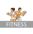 Fitness with muscled man and woman silhouettes Man vector image vector image
