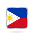 flag of philippines metallic gray square button vector image vector image