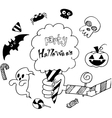 Halloween holiday background in doodle vector image