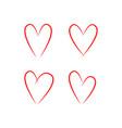 hand drawn hearts set hearts symbol love vector image vector image