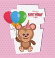 happy birthday monkey cartoon card vector image vector image