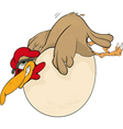 Hen and the big egg vector image vector image