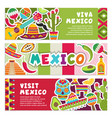 Horizontal banners with mexican symbols viva