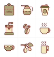 Icons Style Coffee icons with White Background vector image vector image