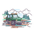 journey on jeep off-road vehicle vector image vector image