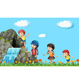 Kids hiking on the waterfall vector image vector image