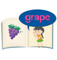 little girl and fresh grapes vector image vector image