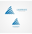 logo combination of a triangle and waves vector image vector image