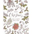 merry christmas and happy new year card or poster vector image vector image