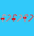 merry christmas candy cane peppermint stick line vector image vector image