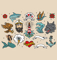 nautical vintage colorful tattoos set vector image