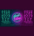 neon futuristic font luminous blue and pink vector image vector image