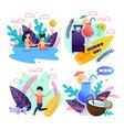 outdoor activities for family on tropic resort set vector image