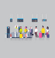 people standing in queue with suitcases vector image