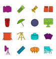 photo studio icons doodle set vector image vector image