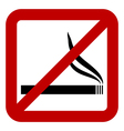 Prohibitory sign with cigarette sign vector image vector image