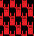 Rock hand sign red seamless pattern Background of