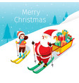 santa claus with gifts bag and girl skiing vector image