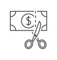 scissors cutting money icon vector image vector image