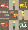 Scooter Lover People Flat Cartoon vector image