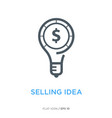 selling idea line flat icon vector image vector image