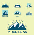 Set of mountain exploration vintage emblems