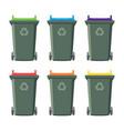 set recycling wheelie bin icons vector image