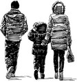 sketch a young family townspeople walking vector image vector image