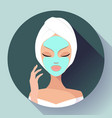 spa woman applying facial cleansing mask beauty vector image vector image