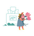 tiny perfumer character holding flowers vector image vector image