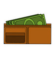 wallet with cash vector image vector image