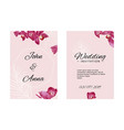 wedding invitation template with orchids and white vector image