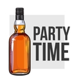 whiskey bottle and hand holding a glass vector image vector image