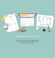 workplace - construction project architect house vector image