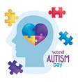 world autism day with head silhouette and puzzle vector image vector image