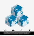 worldmap and cube vector image vector image
