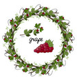 wreath grape leaves and grapes on a white backg vector image vector image