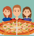 young people with italian pizza vector image vector image