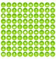 100 global warming icons set green circle vector image vector image