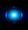 abstract blue lighting with circle and mesh vector image