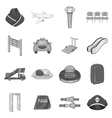 Airport icons set black monochrome style vector image vector image